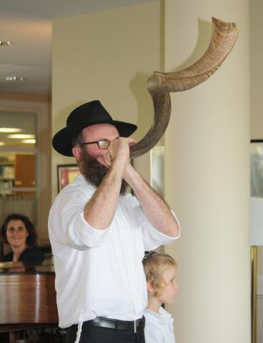 Rabbi Birk Blowing Shofar